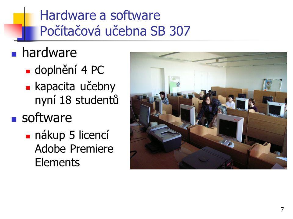 7 Hardware a software Počítačová učebna SB 307 hardware doplnění 4 PC kapacita učebny nyní 18 studentů software nákup 5 licencí Adobe Premiere Elements
