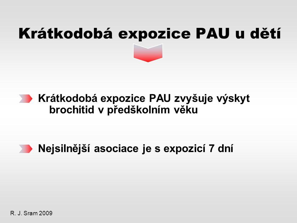 Krátkodobá expozice PAU u dětí Krátkodobá expozice PAU zvyšuje výskyt brochitid v předškolním věku Nejsilnější asociace je s expozicí 7 dní R.