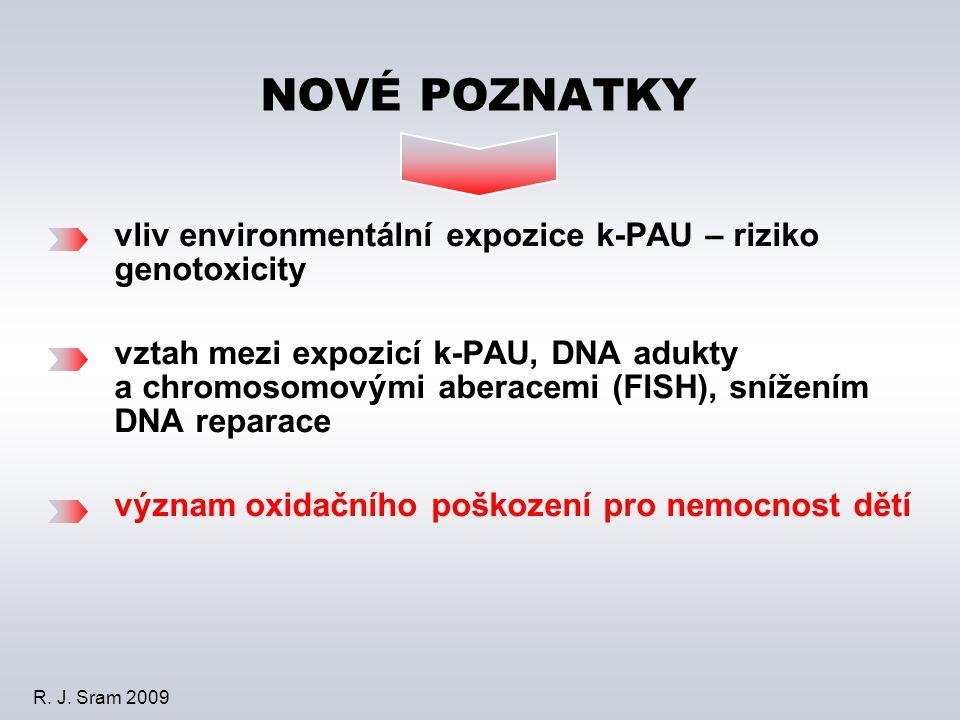vliv environmentální expozice k-PAU – riziko genotoxicity vztah mezi expozicí k-PAU, DNA adukty a chromosomovými aberacemi (FISH), snížením DNA reparace význam oxidačního poškození pro nemocnost dětí NOVÉ POZNATKY R.