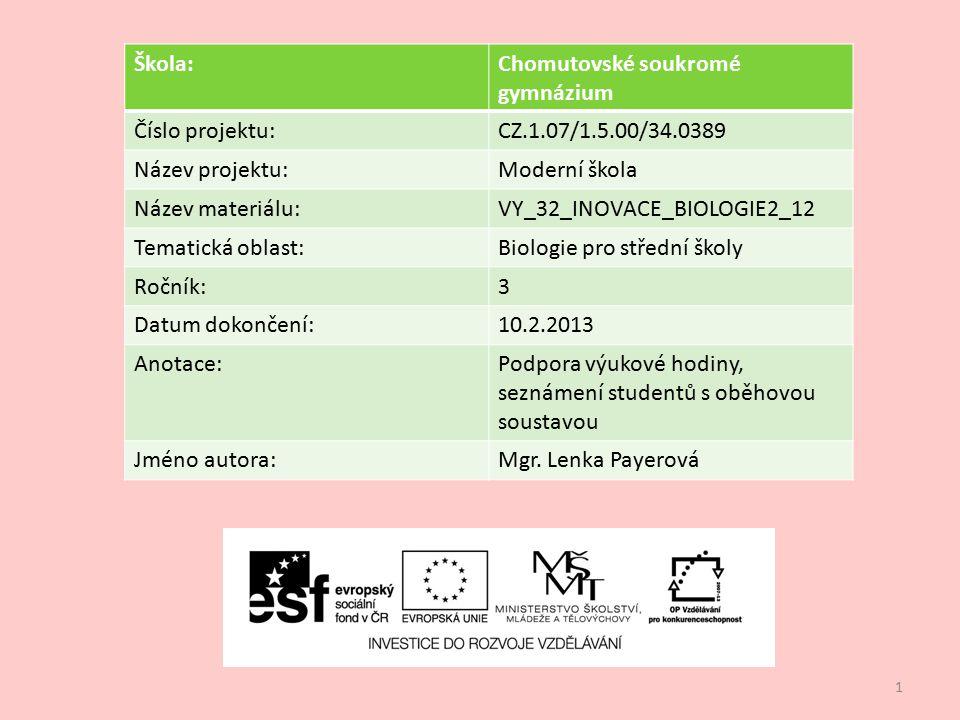 1 Škola:Chomutovské soukromé gymnázium Číslo projektu:CZ.1.07/1.5.00/34.0389 Název projektu:Moderní škola Název materiálu:VY_32_INOVACE_BIOLOGIE2_12 T
