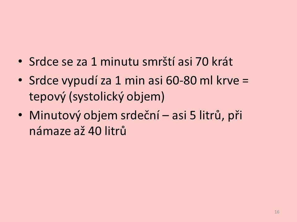 Srdce se za 1 minutu smrští asi 70 krát Srdce vypudí za 1 min asi 60-80 ml krve = tepový (systolický objem) Minutový objem srdeční – asi 5 litrů, při