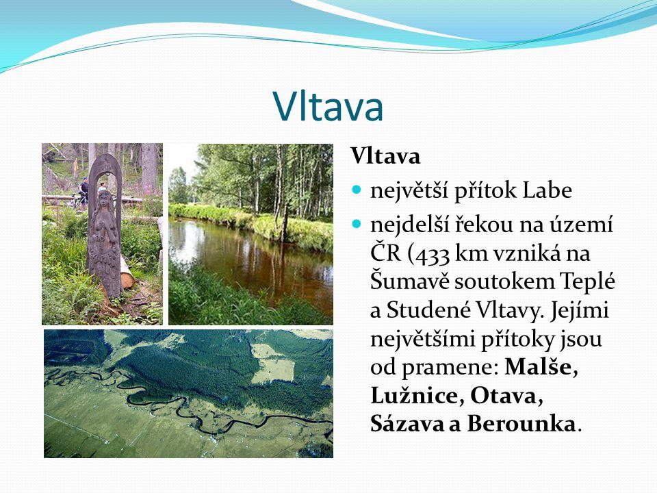 Vltava největší přítok Labe nejdelší řekou na území ČR (433 km vzniká na Šumavě soutokem Teplé a Studené Vltavy. Jejími největšími přítoky jsou od pra