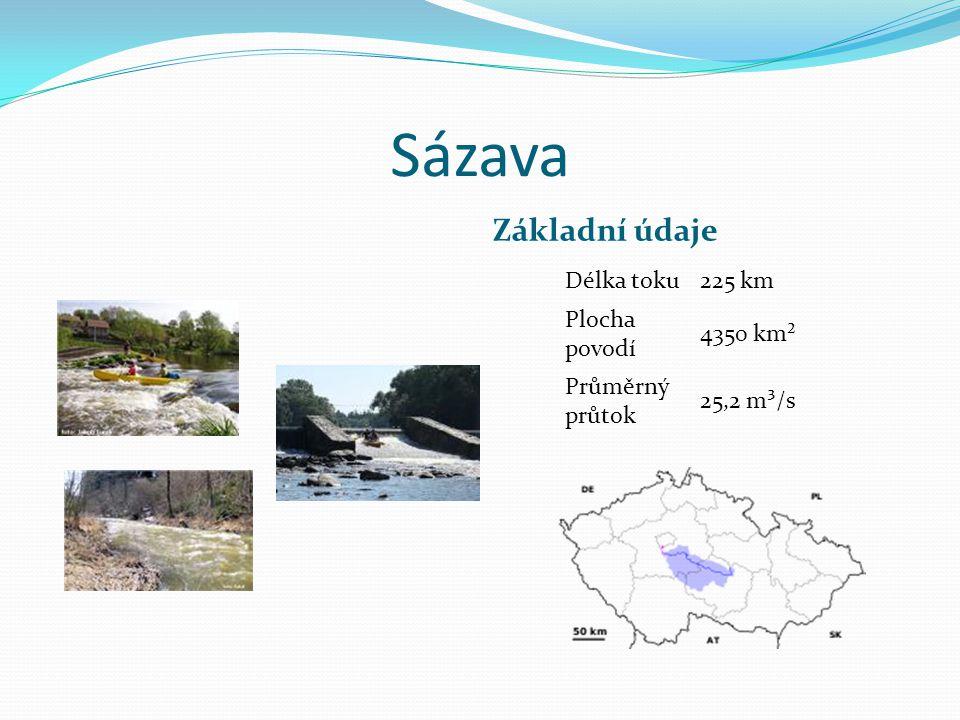 Sázava Základní údaje Délka toku225 km Plocha povodí 4350 km² Průměrný průtok 25,2 m³/s