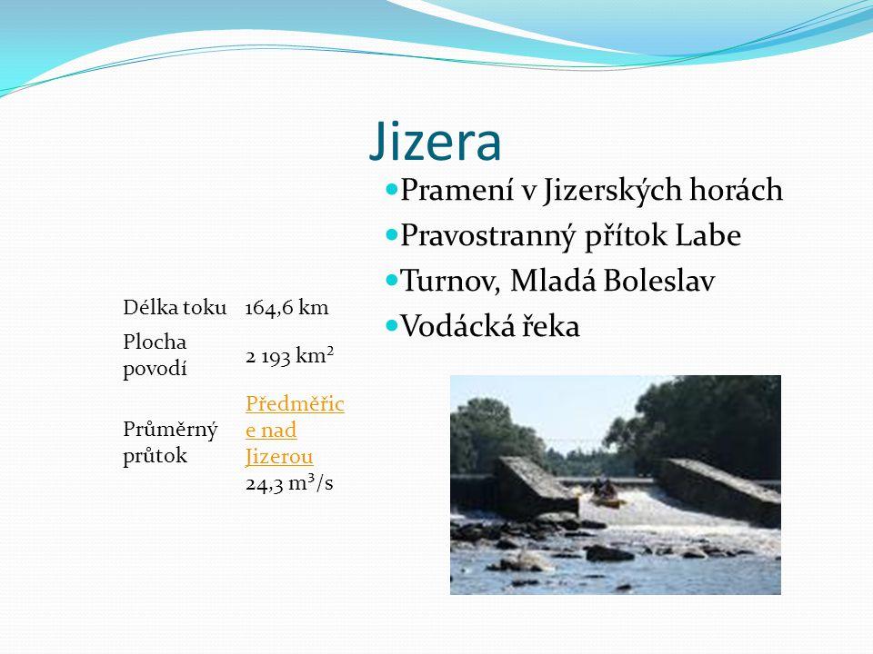 Jizera Délka toku164,6 km Plocha povodí 2 193 km² Průměrný průtok Předměřic e nad Jizerou Předměřic e nad Jizerou 24,3 m³/s Pramení v Jizerských horác