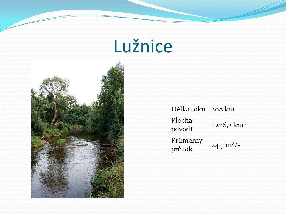 Lužnice Délka toku208 km Plocha povodí 4226,2 km² Průměrný průtok 24,3 m³/s