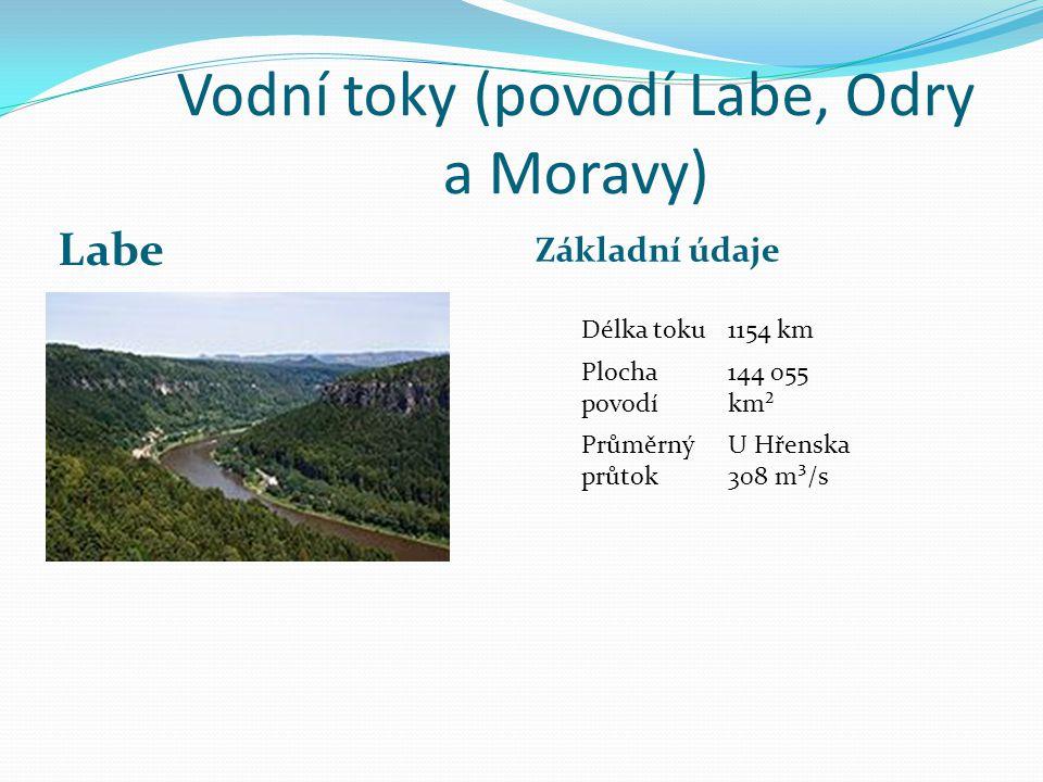 Vodní toky (povodí Labe, Odry a Moravy) Labe Základní údaje Délka toku1154 km Plocha povodí 144 055 km² Průměrný průtok U Hřenska 308 m³/s