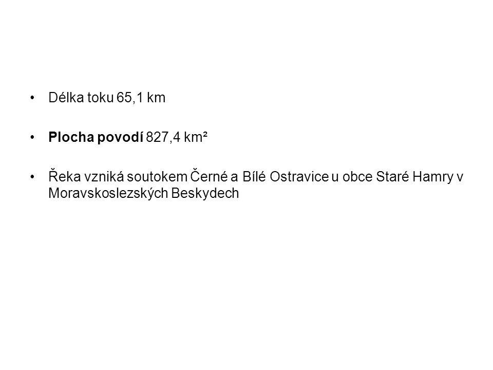 Délka toku 65,1 km Plocha povodí 827,4 km² Řeka vzniká soutokem Černé a Bílé Ostravice u obce Staré Hamry v Moravskoslezských Beskydech
