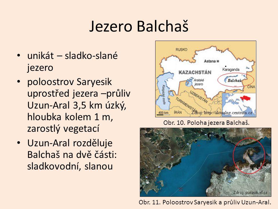 Jezero Balchaš unikát – sladko-slané jezero poloostrov Saryesik uprostřed jezera –průliv Uzun-Aral 3,5 km úzký, hloubka kolem 1 m, zarostlý vegetací U