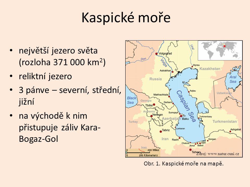 Kaspické moře největší jezero světa (rozloha 371 000 km 2 ) reliktní jezero 3 pánve – severní, střední, jižní na východě k nim přistupuje záliv Kara-