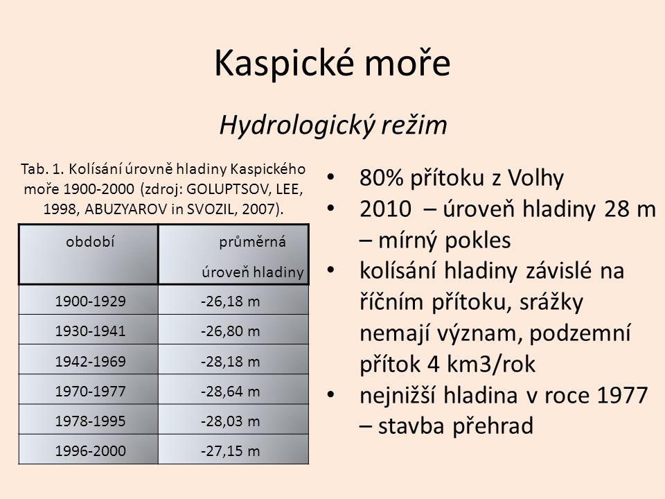 Kaspické moře Hydrologický režim období průměrná úroveň hladiny 1900-1929 -26,18 m 1930-1941 -26,80 m 1942-1969 -28,18 m 1970-1977 -28,64 m 1978-1995