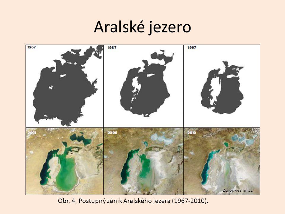 Aralské jezero Zdroj: vesmir.cz Obr. 4. Postupný zánik Aralského jezera (1967-2010).