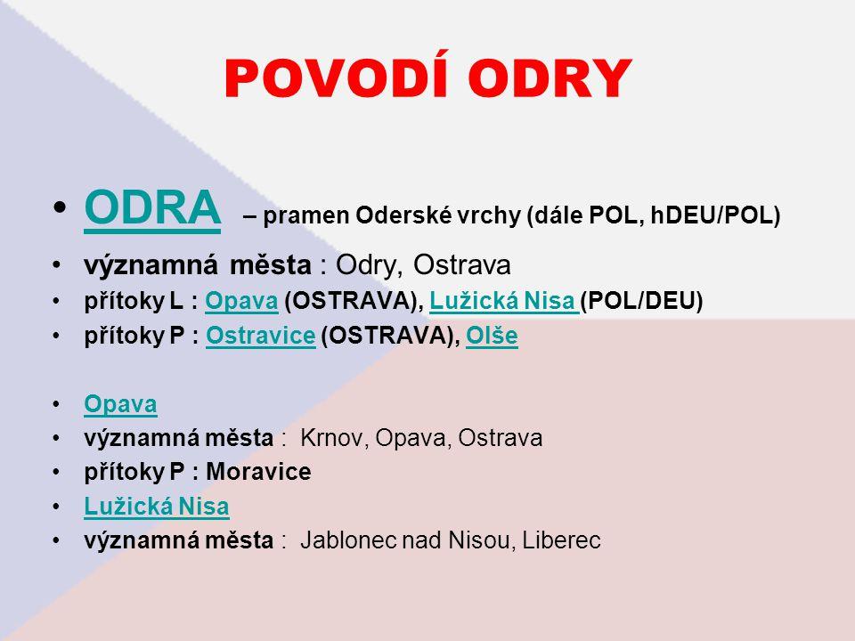 POVODÍ ODRY ODRA – pramen Oderské vrchy (dále POL, hDEU/POL)ODRA významná města : Odry, Ostrava přítoky L : Opava (OSTRAVA), Lužická Nisa (POL/DEU)Opa