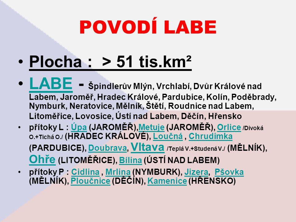 POVODÍ LABE Plocha : > 51 tis.km² LABE - Špindlerův Mlýn, Vrchlabí, Dvůr Králové nad Labem, Jaroměř, Hradec Králové, Pardubice, Kolín, Poděbrady, Nymb
