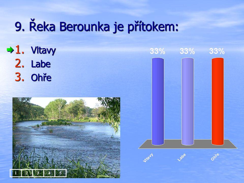 9. Řeka Berounka je přítokem: 1. Vltavy 2. Labe 3. Ohře 12345