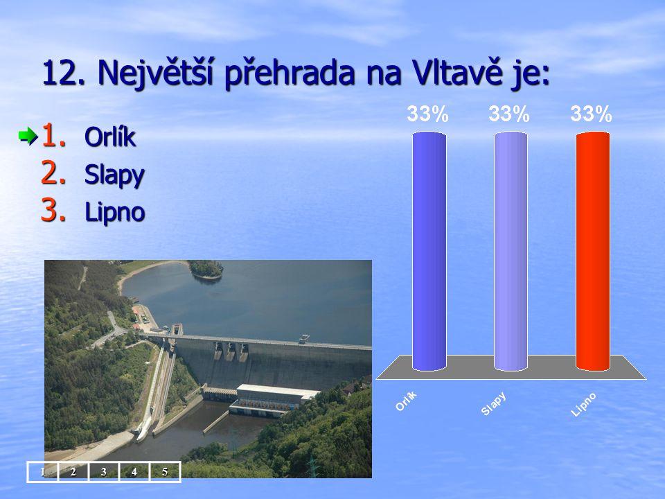 12. Největší přehrada na Vltavě je: 1. Orlík 2. Slapy 3. Lipno 12345