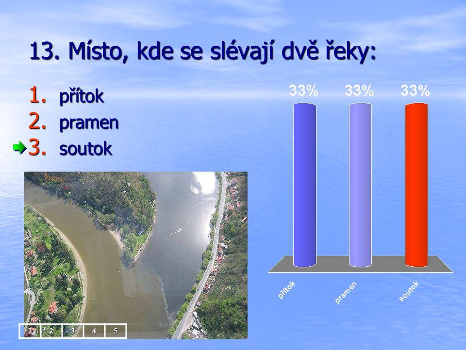 13. Místo, kde se slévají dvě řeky: 1. přítok 2. pramen 3. soutok 12345