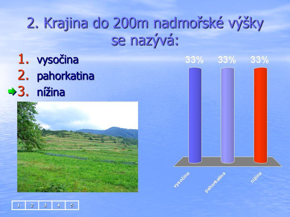 2. Krajina do 200m nadmořské výšky se nazývá: 1. vysočina 2. pahorkatina 3. nížina 12345
