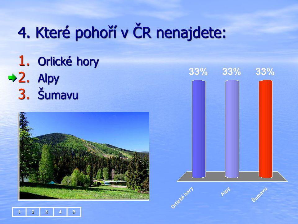 4. Které pohoří v ČR nenajdete: 1. Orlické hory 2. Alpy 3. Šumavu 12345