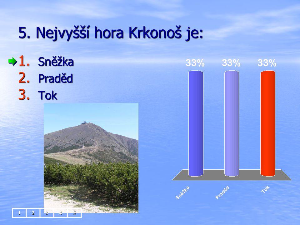 5. Nejvyšší hora Krkonoš je: 1. Sněžka 2. Praděd 3. Tok 12345