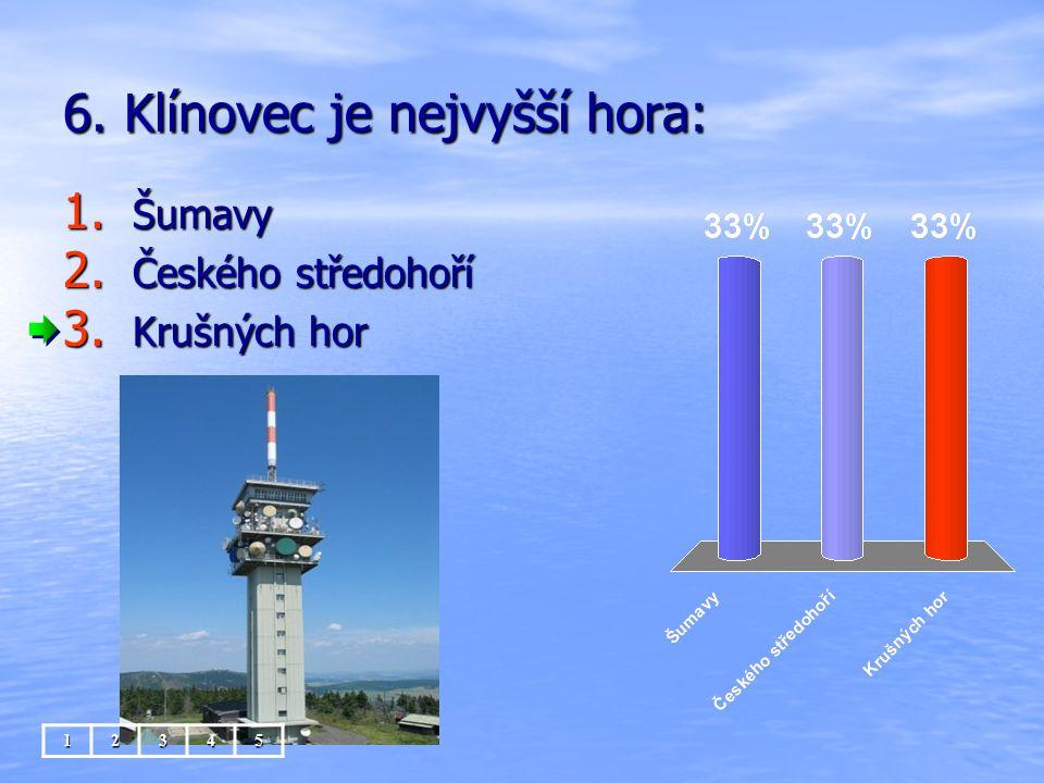 6. Klínovec je nejvyšší hora: 1. Šumavy 2. Českého středohoří 3. Krušných hor 12345