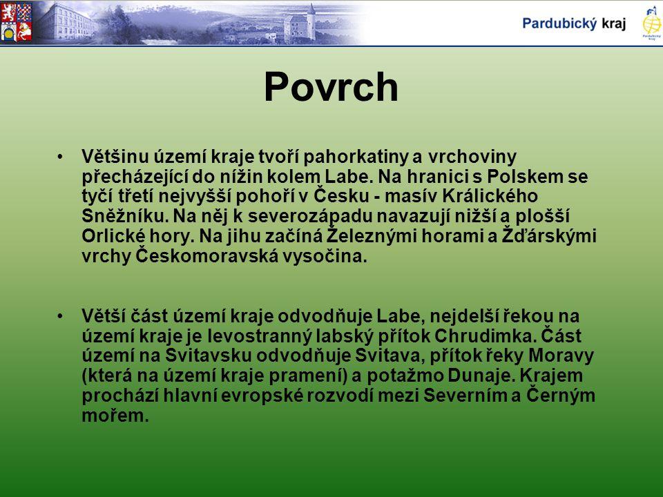Povrch Většinu území kraje tvoří pahorkatiny a vrchoviny přecházející do nížin kolem Labe. Na hranici s Polskem se tyčí třetí nejvyšší pohoří v Česku