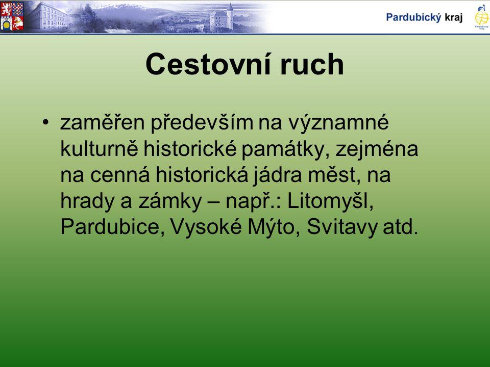 Cestovní ruch zaměřen především na významné kulturně historické památky, zejména na cenná historická jádra měst, na hrady a zámky – např.: Litomyšl, Pardubice, Vysoké Mýto, Svitavy atd.