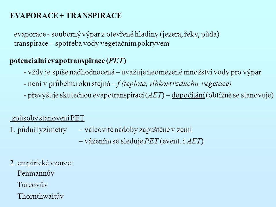 EVAPORACE + TRANSPIRACE evaporace - souborný výpar z otevřené hladiny (jezera, řeky, půda) transpirace – spotřeba vody vegetačním pokryvem potenciální