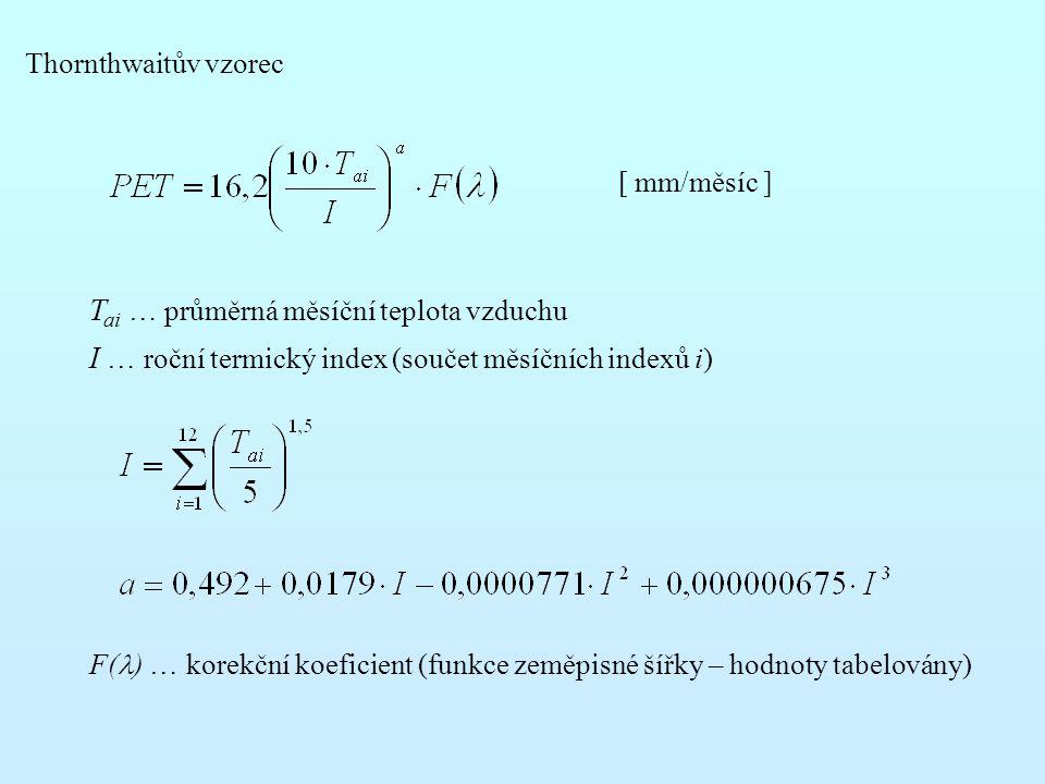 Thornthwaitův vzorec T ai … průměrná měsíční teplota vzduchu I … roční termický index (součet měsíčních indexů i) F( ) … korekční koeficient (funkce z