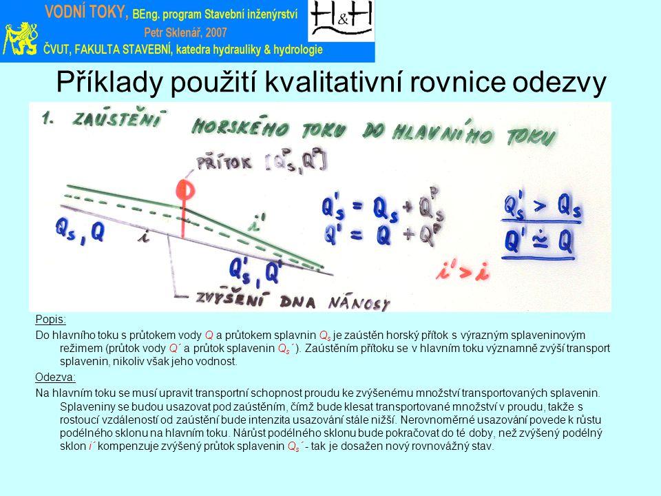 Příklady použití kvalitativní rovnice odezvy Popis: Do hlavního toku s průtokem vody Q a průtokem splavnin Q s je zaústěn horský přítok s výrazným splaveninovým režimem (průtok vody Q´ a průtok splavenin Q s ´ ).