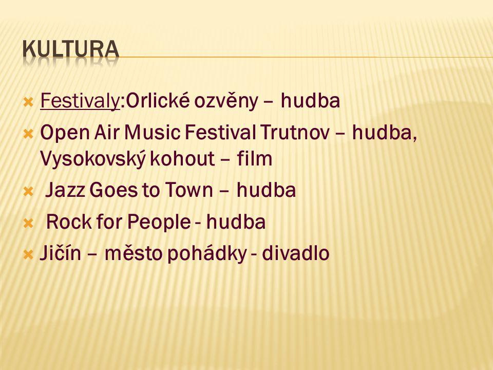 Festivaly:Orlické ozvěny – hudba  Open Air Music Festival Trutnov – hudba, Vysokovský kohout – film  Jazz Goes to Town – hudba  Rock for People -