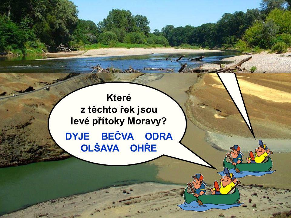 Vysvětlete, co je to průtok a přítok: Které z těchto řek jsou levé přítoky Moravy? DYJE BEČVA ODRA OLŠAVA OHŘE