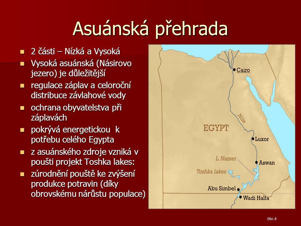 Asuánská přehrada 2 části – Nízká a Vysoká 2 části – Nízká a Vysoká Vysoká asuánská (Násirovo jezero) je důležitější Vysoká asuánská (Násirovo jezero) je důležitější regulace záplav a celoroční distribuce závlahové vody regulace záplav a celoroční distribuce závlahové vody ochrana obyvatelstva při záplavách ochrana obyvatelstva při záplavách pokrývá energetickou k potřebu celého Egypta pokrývá energetickou k potřebu celého Egypta z asuánského zdroje vzniká v poušti projekt Toshka lakes: z asuánského zdroje vzniká v poušti projekt Toshka lakes: zúrodnění pouště ke zvýšení produkce potravin (díky obrovskému nárůstu populace) zúrodnění pouště ke zvýšení produkce potravin (díky obrovskému nárůstu populace) Obr.