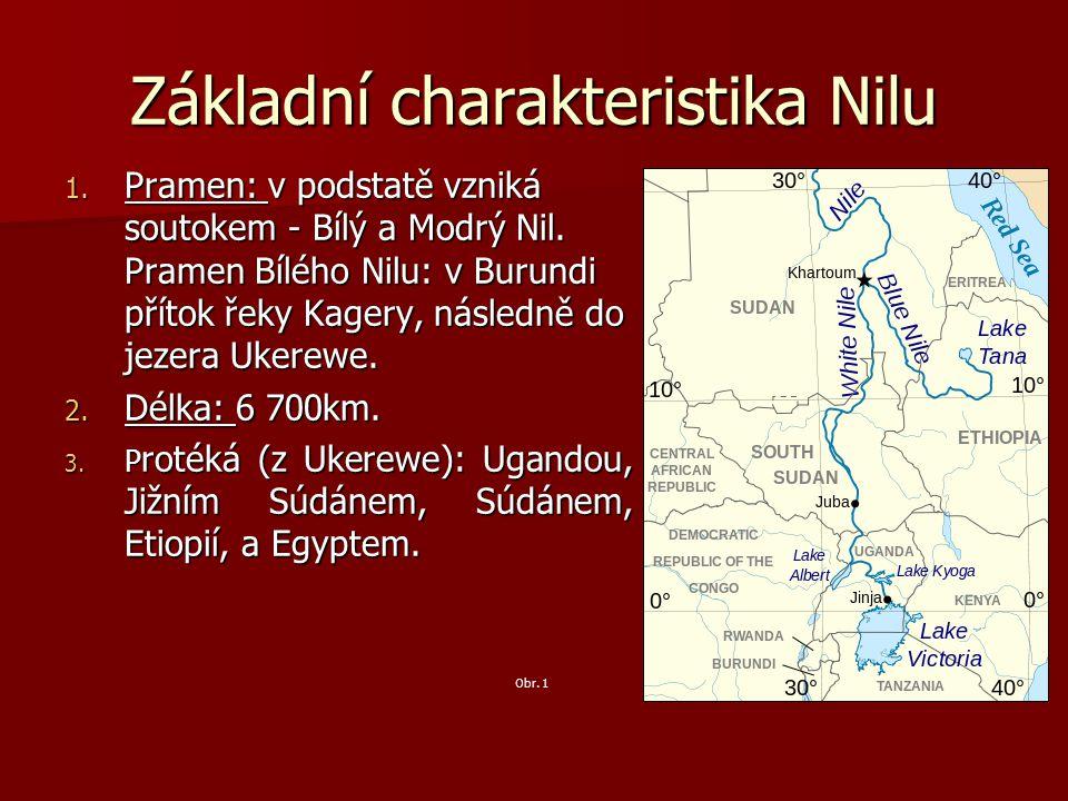 Základní charakteristika Nilu 1.Pramen: v podstatě vzniká soutokem - Bílý a Modrý Nil.
