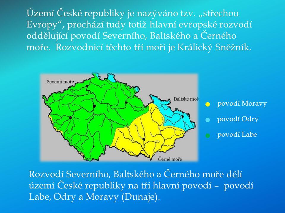 Rozvodí Severního, Baltského a Černého moře dělí území České republiky na tři hlavní povodí – povodí Labe, Odry a Moravy (Dunaje). Území České republi
