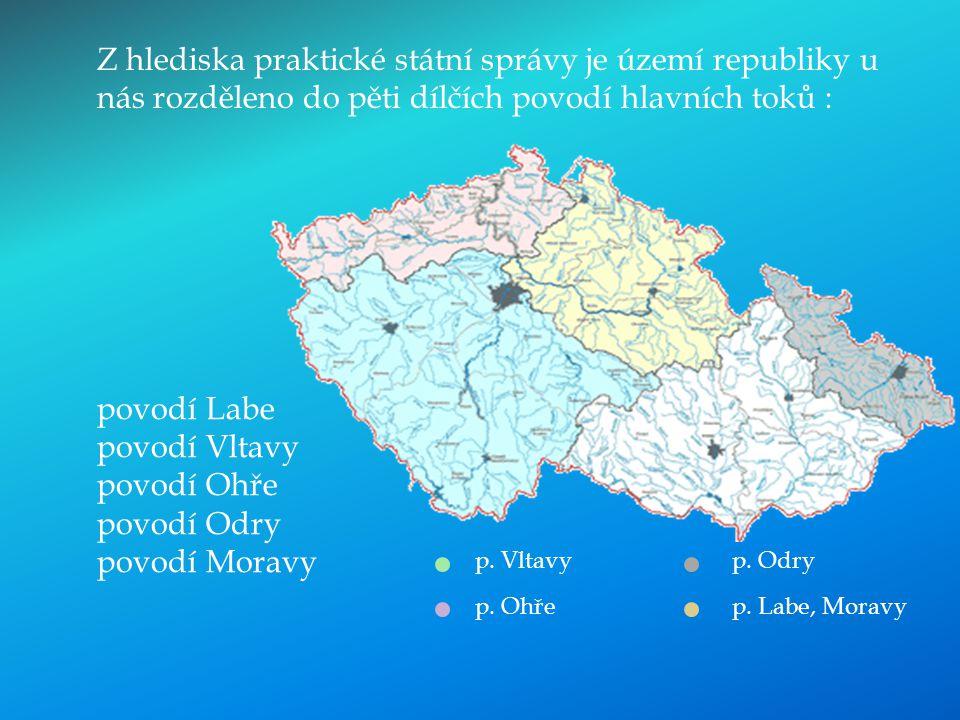 povodí Labe povodí Vltavy povodí Ohře povodí Odry povodí Moravy Z hlediska praktické státní správy je území republiky u nás rozděleno do pěti dílčích