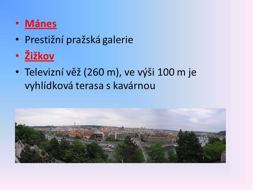 Mánes Prestižní pražská galerie Žižkov Televizní věž (260 m), ve výši 100 m je vyhlídková terasa s kavárnou