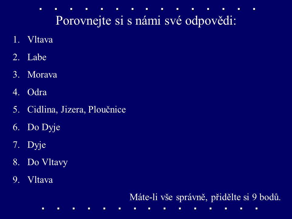 Hledejte v příruční mapě a odpovídejte na otázky: 1.Která česká řeka je nejdelší? 2.Která z českých řek má největší povodí? 3.Jak se jmenuje hlavní mo