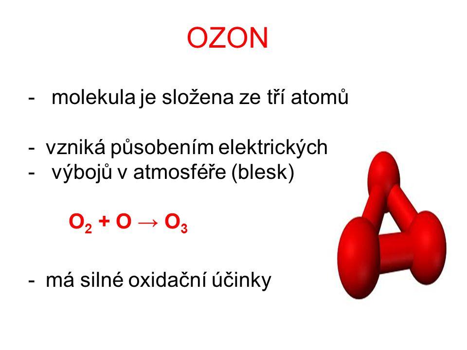 OZON - molekula je složena ze tří atomů -vzniká působením elektrických - výbojů v atmosféře (blesk) O 2 + O → O 3 -má silné oxidační účinky