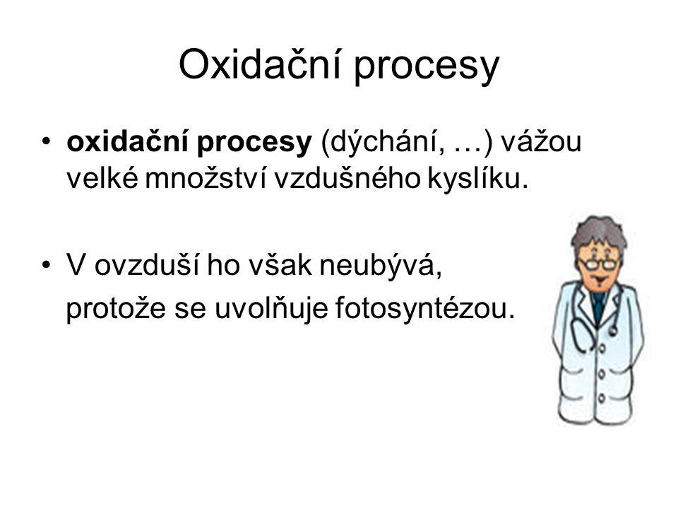Oxidační procesy oxidační procesy (dýchání, …) vážou velké množství vzdušného kyslíku. V ovzduší ho však neubývá, protože se uvolňuje fotosyntézou.