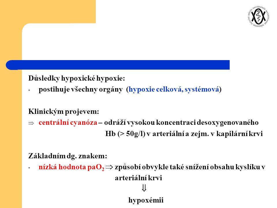 Důsledky hypoxické hypoxie: - postihuje všechny orgány (hypoxie celková, systémová) Klinickým projevem:  centrální cyanóza – odráží vysokou koncentra