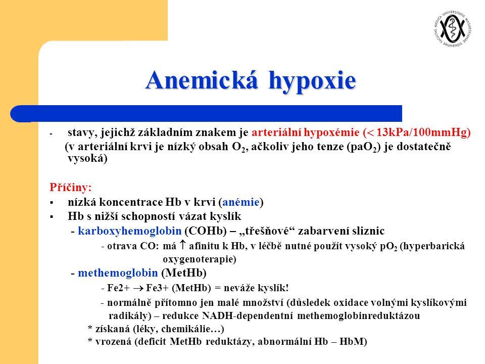 Anemická hypoxie - stavy, jejichž základním znakem je arteriální hypoxémie (  13kPa/100mmHg) (v arteriální krvi je nízký obsah O 2, ačkoliv jeho tenz