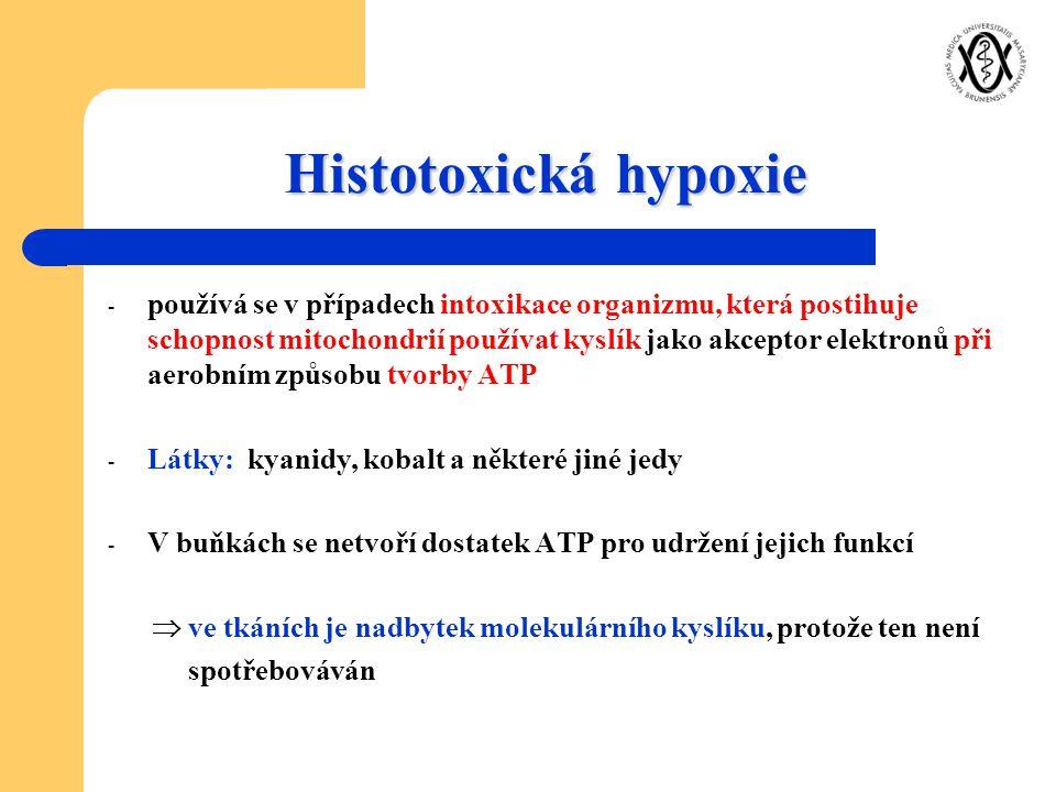 Histotoxická hypoxie - používá se v případech intoxikace organizmu, která postihuje schopnost mitochondrií používat kyslík jako akceptor elektronů při