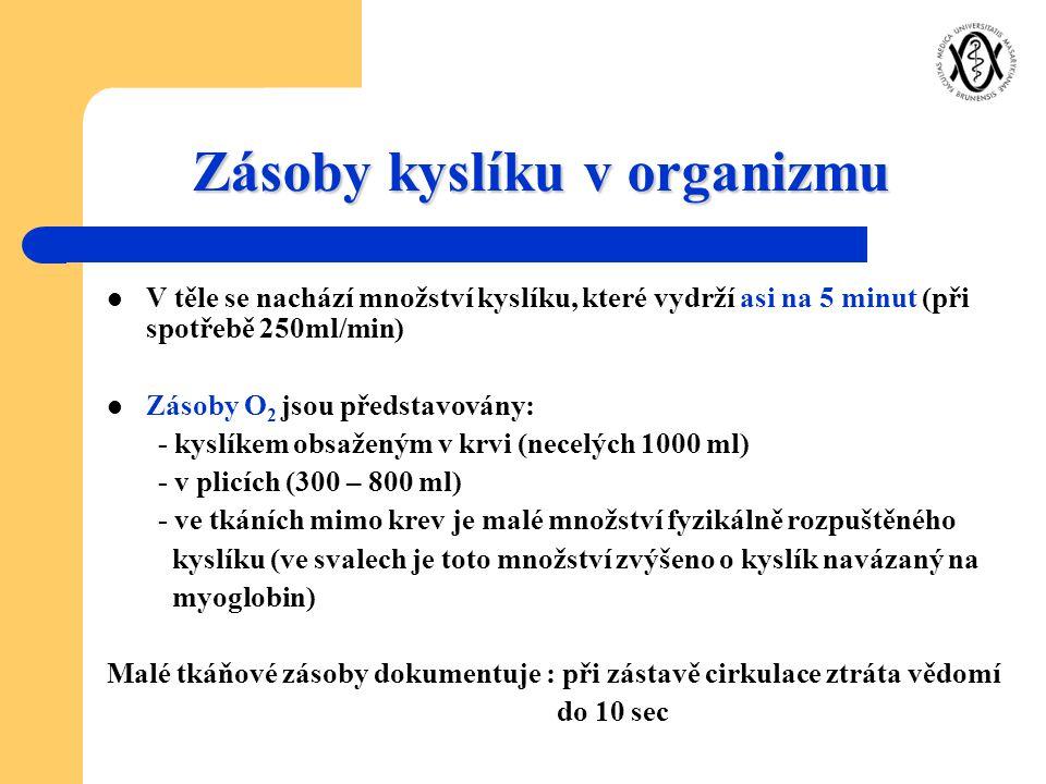 Zásoby kyslíku v organizmu V těle se nachází množství kyslíku, které vydrží asi na 5 minut (při spotřebě 250ml/min) Zásoby O 2 jsou představovány: - k