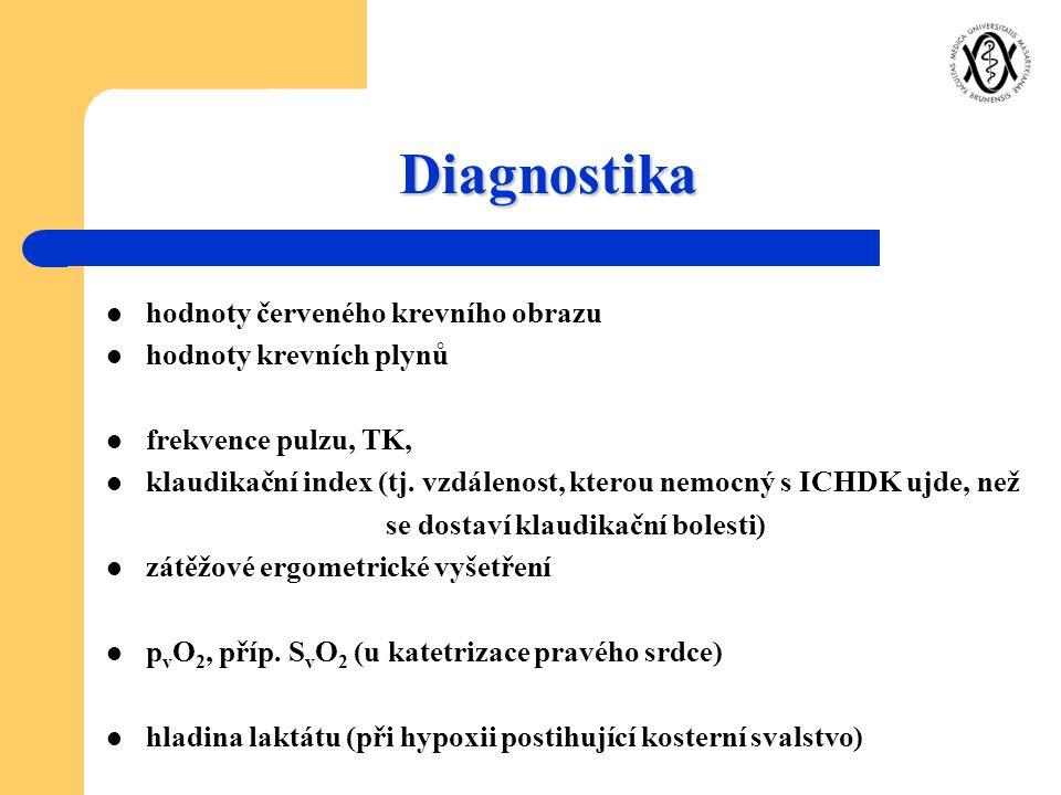 Diagnostika hodnoty červeného krevního obrazu hodnoty krevních plynů frekvence pulzu, TK, klaudikační index (tj. vzdálenost, kterou nemocný s ICHDK uj