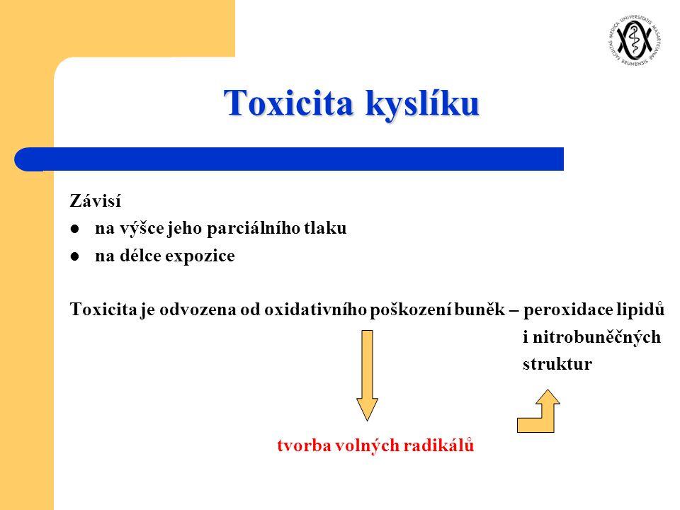 Toxicita kyslíku Závisí na výšce jeho parciálního tlaku na délce expozice Toxicita je odvozena od oxidativního poškození buněk – peroxidace lipidů i n