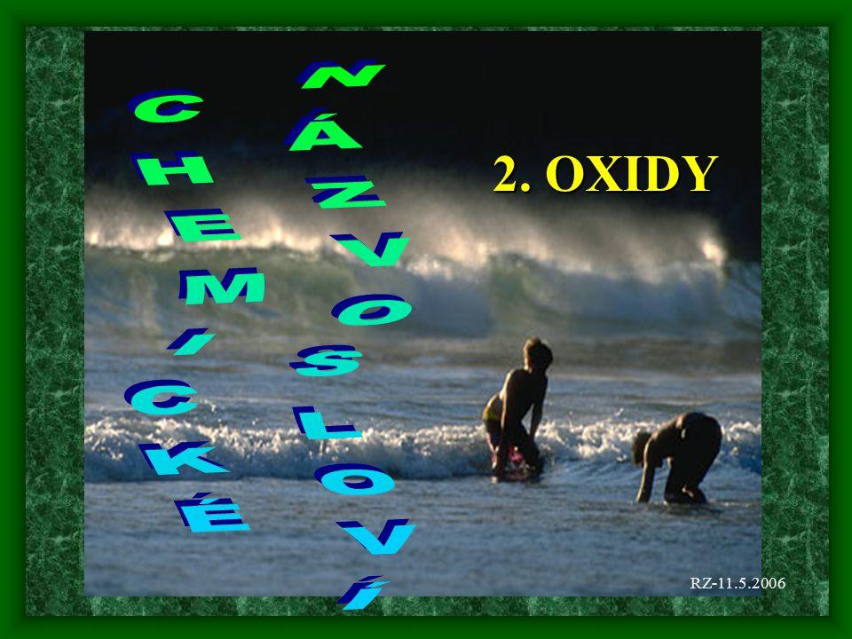 Příklady SnO 2 MgO WO 2 SO 3 OsO 4 CuO Oxid cíničitý Oxid hořečnatý Oxid wolframičitý Oxid sírový Oxid osmičelý Oxid měďnatý