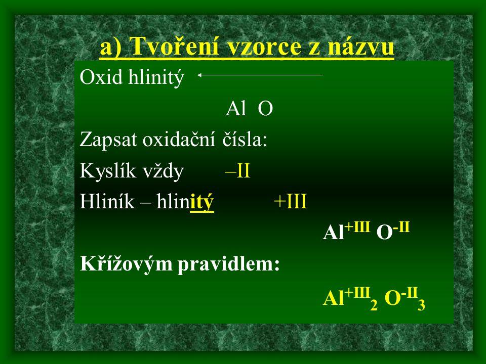 a) Tvoření vzorce z názvu Oxid hlinitý Al O Zapsat oxidační čísla: Kyslík vždy –II Hliník – hlinitý +III Al +III O -II Křížovým pravidlem: Al +III 2 O -II 3