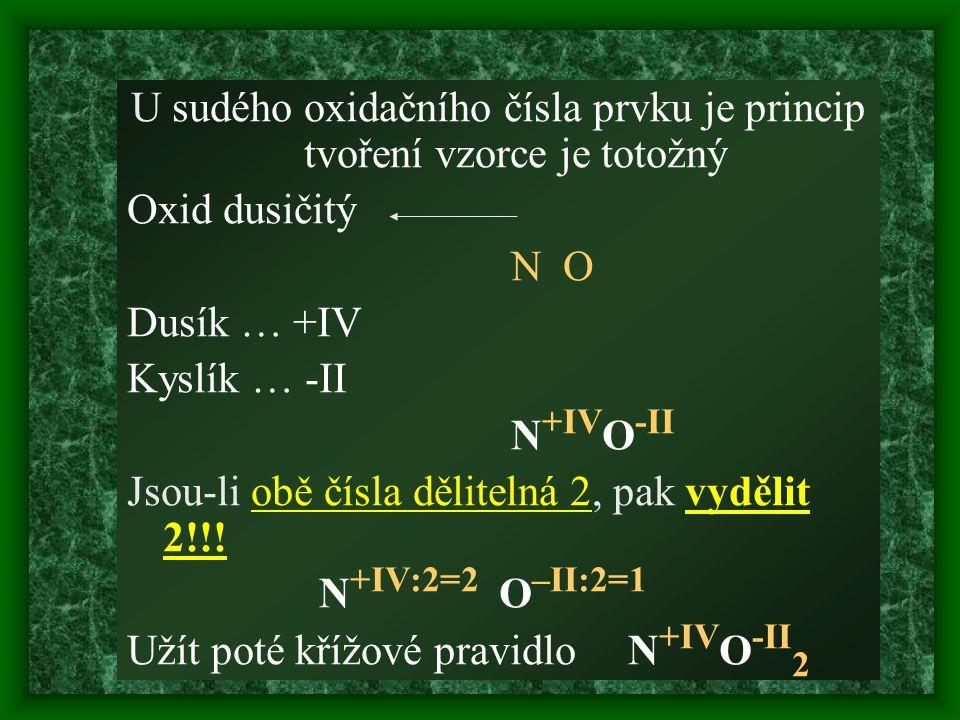 U sudého oxidačního čísla prvku je princip tvoření vzorce je totožný Oxid dusičitý N O Dusík … +IV Kyslík … -II N +IV O -II Jsou-li obě čísla dělitelná 2, pak vydělit 2!!.