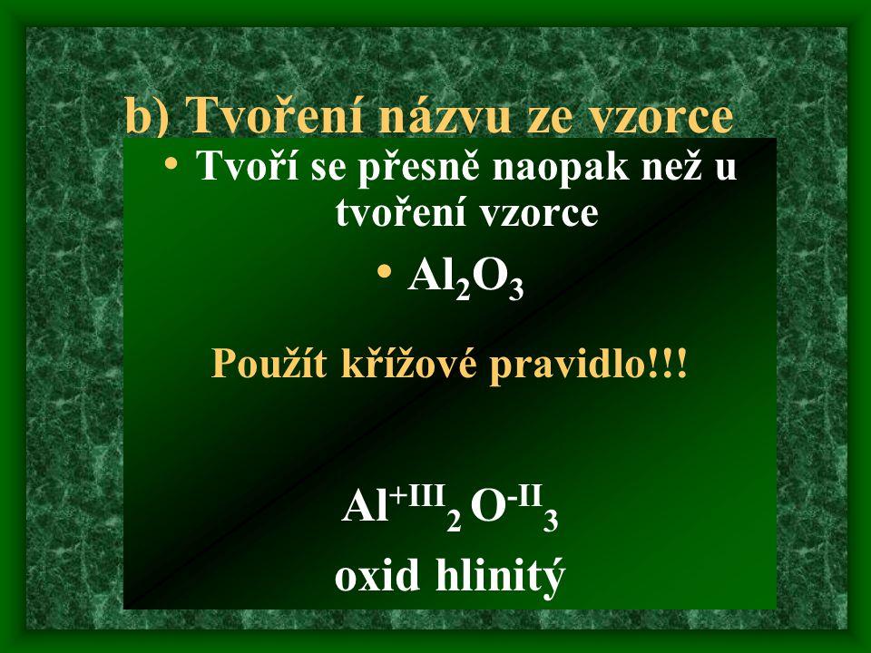 b) Tvoření názvu ze vzorce Tvoří se přesně naopak než u tvoření vzorce Al 2 O 3 Použít křížové pravidlo!!.