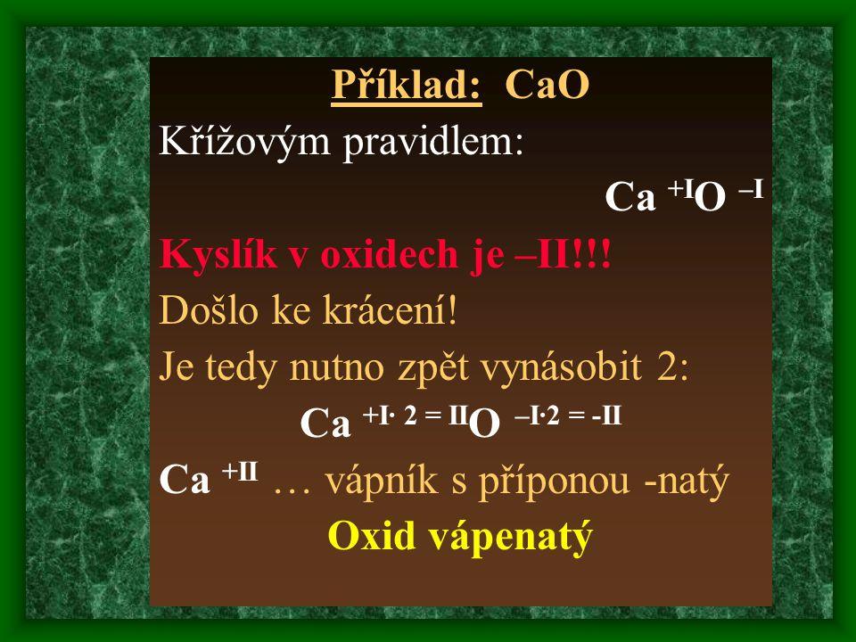 Příklad: CaO Křížovým pravidlem: Ca +I O –I Kyslík v oxidech je –II!!.